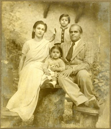 "Inscrp.USG on card below photo. "" Indu, Kalyan and the children. Vivasvan and Navina. August 1947, Simla W. photo by USG'"