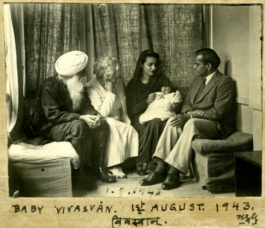 Inscrp.USG ' Baby Vivasvan ( also in Devnagari ) with his mother Indira, father Kalyan Sundaram, mothers mother, Antoinette Sher-Gil and mother's father Umrao Singh Sher-Gil. Photo taken 1st of August 1943 in their house 'L'Atelier' The Studio, on the Holme Estate by USG' . Simla